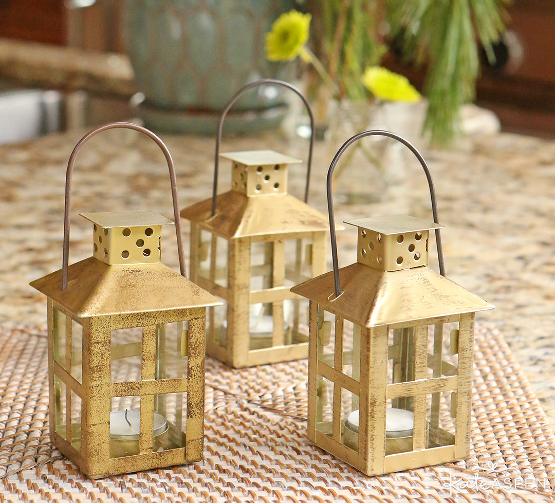 Vintage Antique Gold Distressed Lantern Small