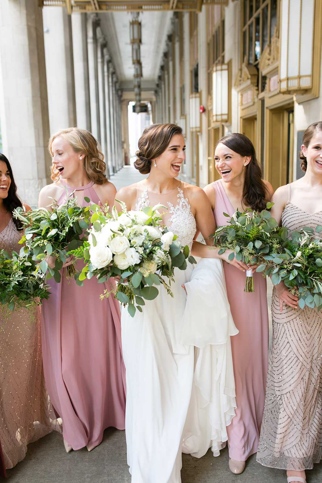 Bride and Bridesmaids | 2 Over the Top Rooftop weddings | Kate Aspen
