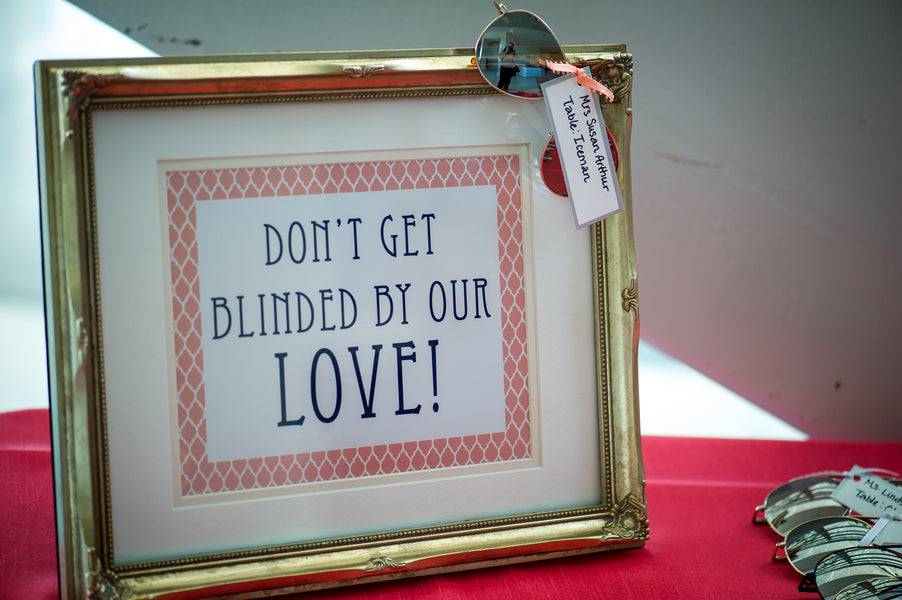Don't Get Blinded By Our Love Sign  | Aviation Themed Wedding | Red Bridge Photography