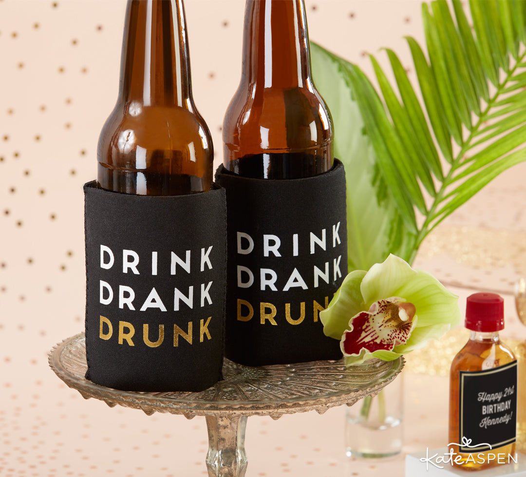 Drink Drank Drunk Inslulated Drink Holders | The Perfect Birthday Party For Her | Kate Aspen