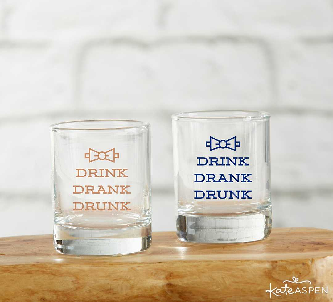 Drink Drank Drunk Shot Glass | 8 Groomsmen Gift Ideas | Kate Aspen