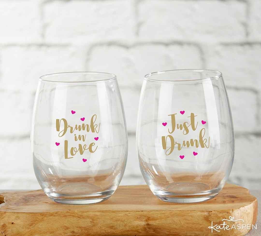 Drunk in Love Just Drunk 15 oz Stemless Wine Glass | 6 Must-Have Bachelorette Party Accessories | Kate Aspen