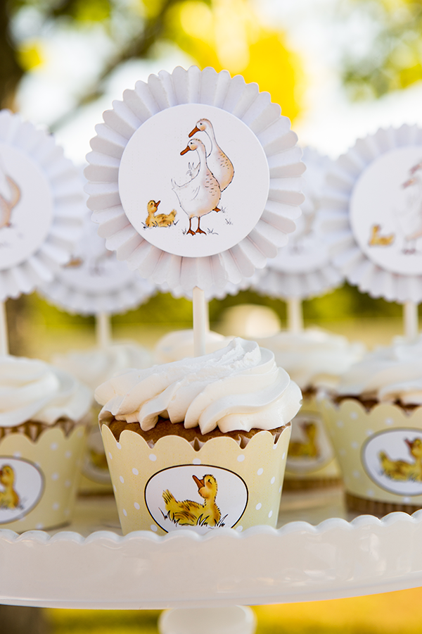 Cupcakes with Duckling Toppers and Wrappers | Little Duckling Adoption Party by Sweet Georgia Sweet