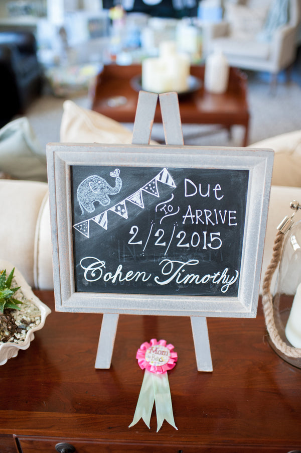Chalkboard Sign Baby Shower | Alyssa Renee Photography