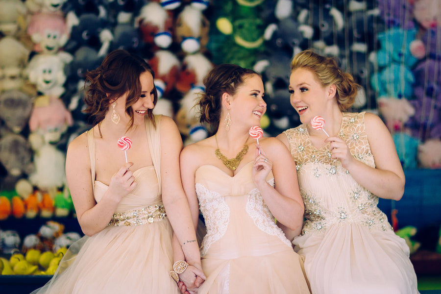Bride and bridesmaids at carnival wedding | Photograhpy: Prue Franzmann Photography | Styling: Enchanted Empire