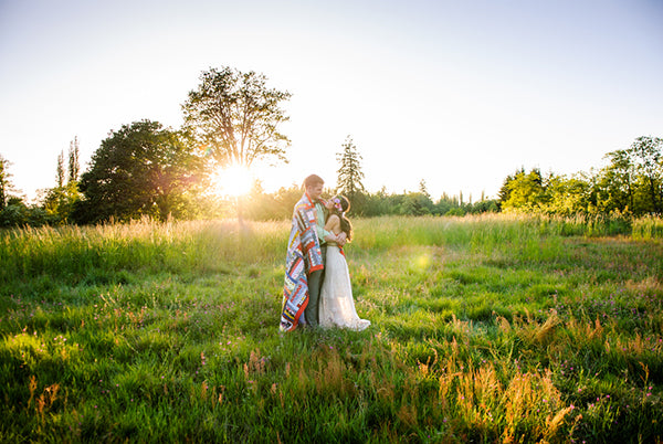 Bride and Groom in Field During Sunset | Rebecca Anne Photography