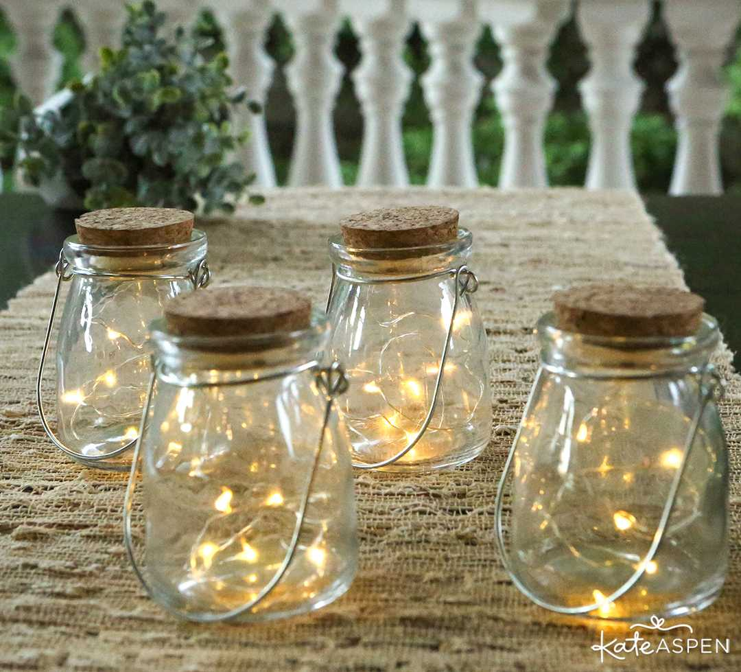Hanging Clear Jar With Fairy Lights | 6 Ways to Light Up Your Night With Lanterns | Kate Aspen