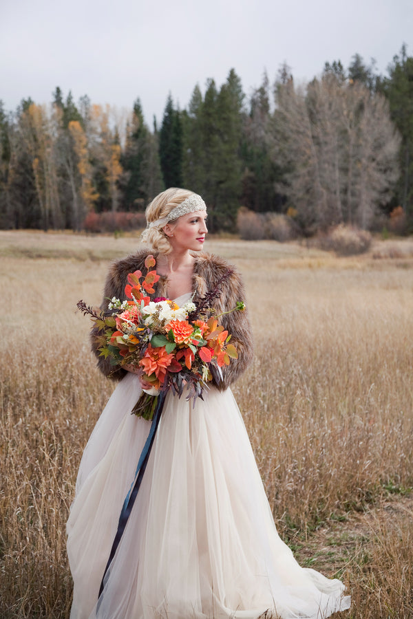 Bride in Fur Shawl | Fall Wedding |  Tana Photography LLC
