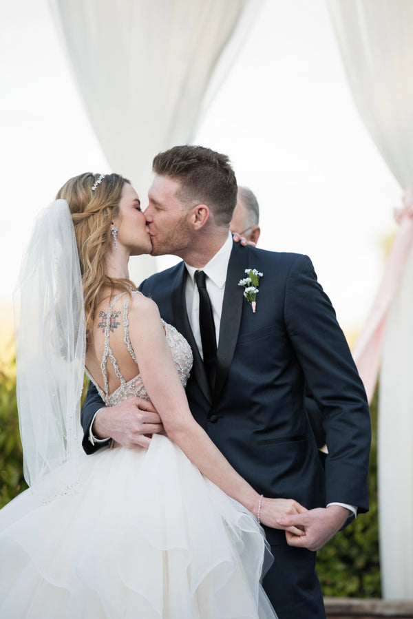 First Kiss | A Beautiful Blush Wedding | Kate Aspen