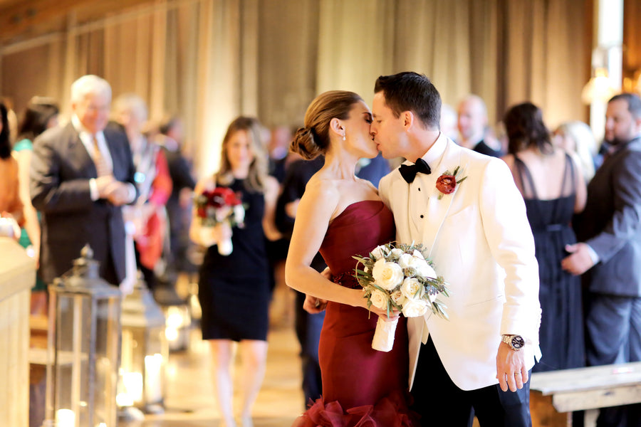 First Kiss | Burgundy Fall Wedding | Pepper Nix Photography