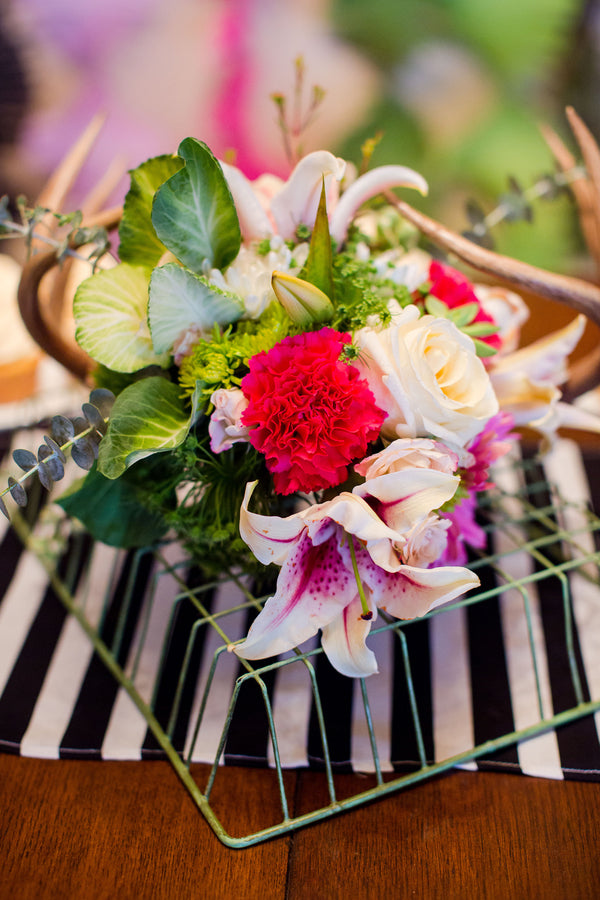 Bright Floral Arrangement | First Birthday Party | Katie Woody Photography