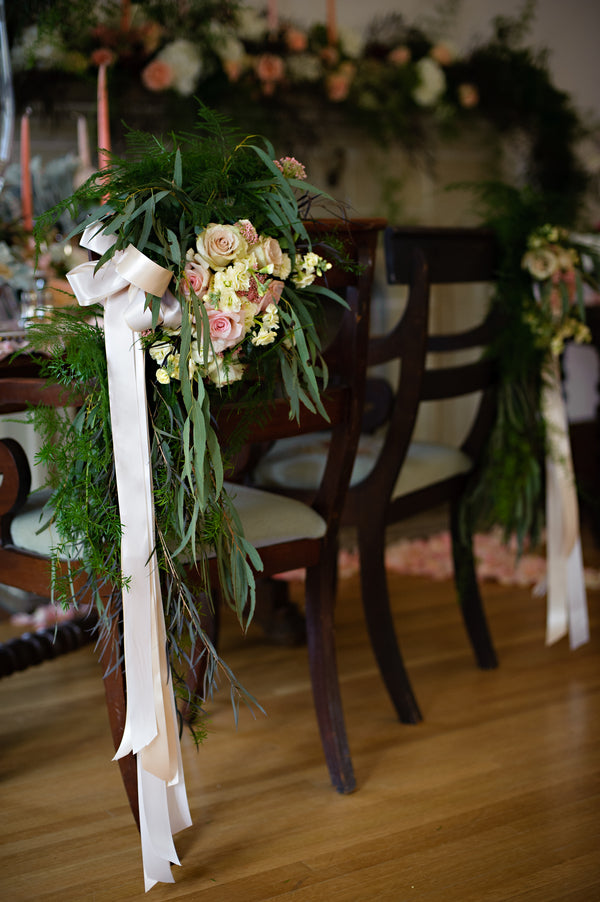 Floral Touches on Chairs | Vintage Details for a Downton Abbey Inspired Wedding | HRM Photography