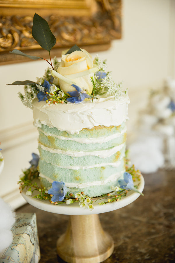 Floral Cake | An Up Up & Away Baby Shower | Kate Aspen