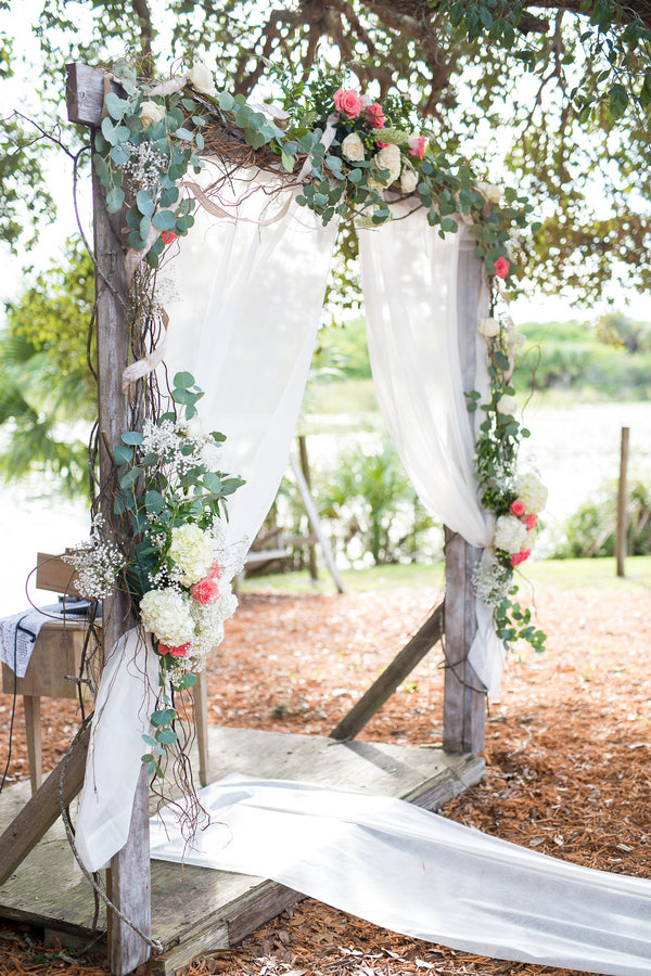 Floral Arch at Altar | Whimsical Rustic Barn Wedding | McKenzie Stewart Weddings