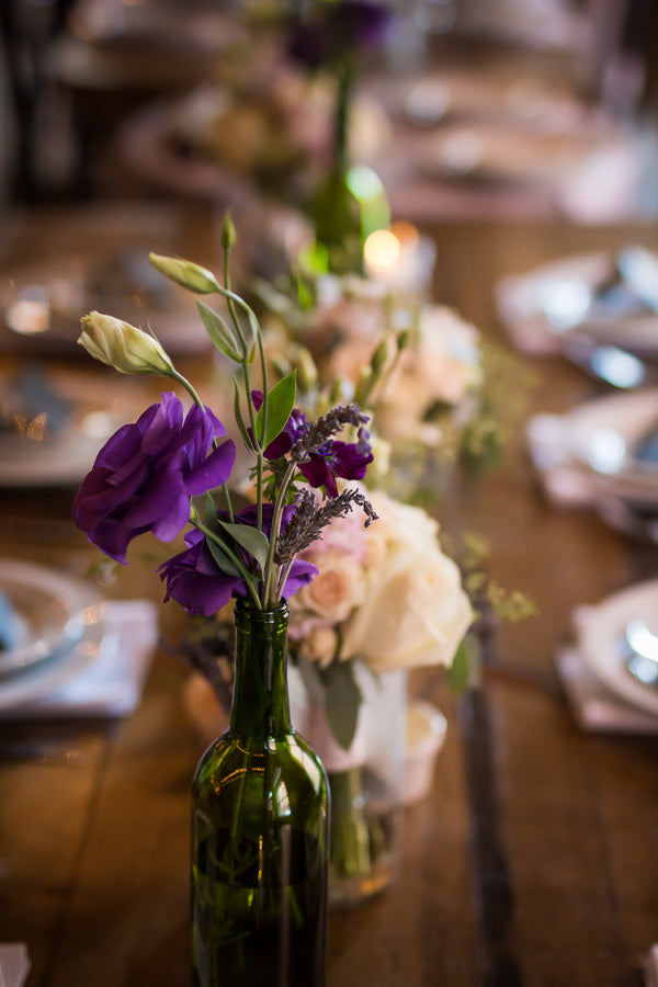Floral Centerpieces on Reception Table | Purple Industrial Themed Wedding | Asteria Photography