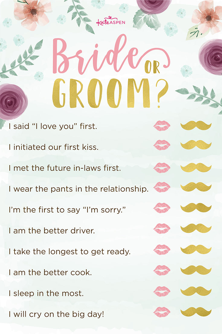 Bride or Groom? | Bridal Shower Games | Kate Aspen