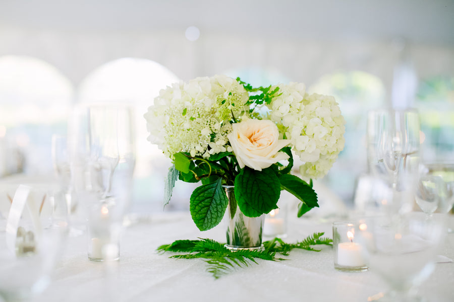 Centerpiece | A Green and White Garden Wedding | Jeannine Marie Photography