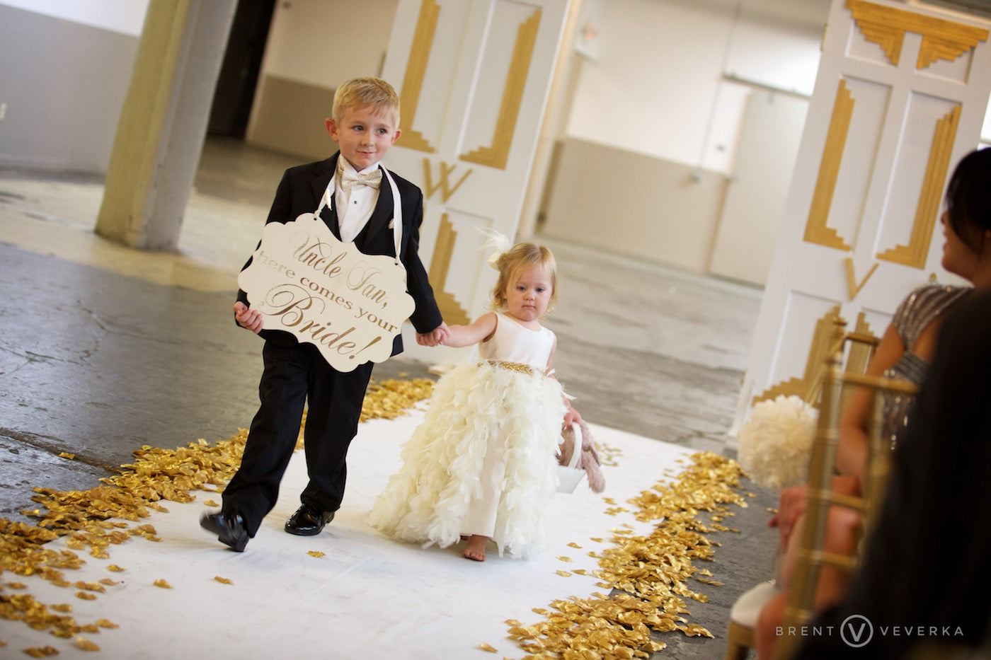Ring Bearer and Flower Girl | Glam Speakeasy Wedding | Brent Veverka Media