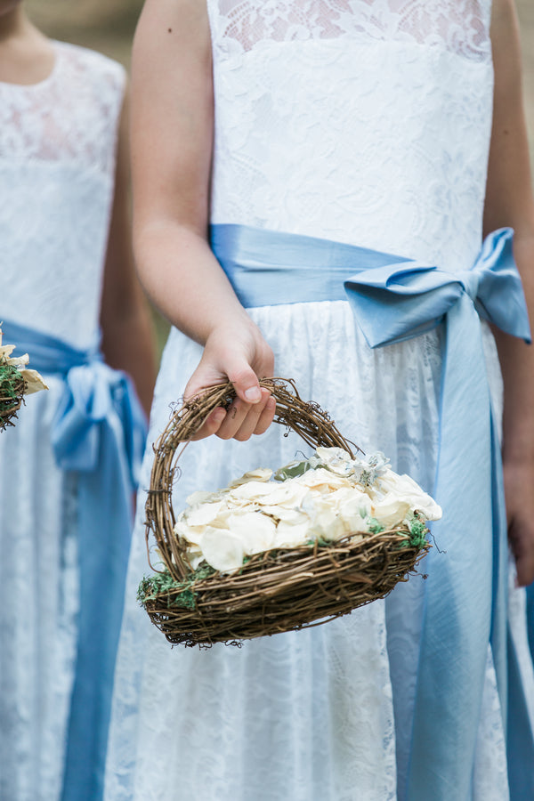 Flower Girls in Blue | Blissful Garden Wedding Details | B. Jones Photography