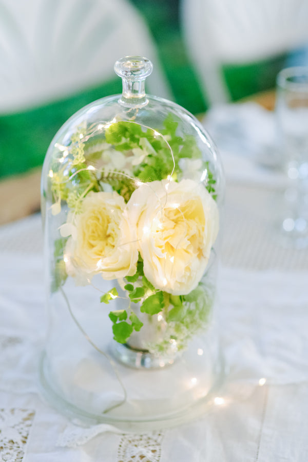 Cloche | A Green and White Garden Wedding | Jeannine Marie Photography