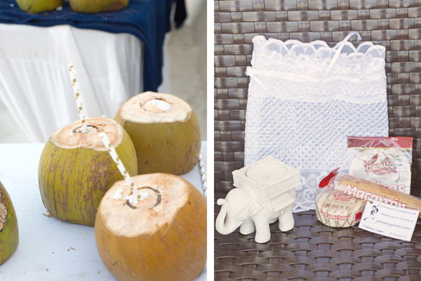 Coconuts and Wedding Favors | Indian Fusion Beach Wedding in Cancun | Adrienne Fletcher Photography | @kateaspen