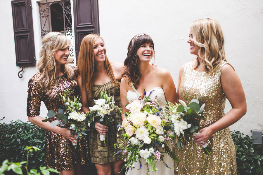 Sparkly gold bridesmaids dresses | mix and match bridesmaids | Jessica Miriam Photography