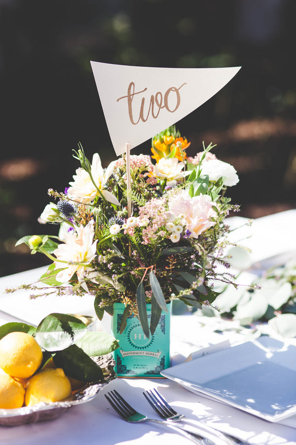 Table number flags | Jessica Miriam Photography