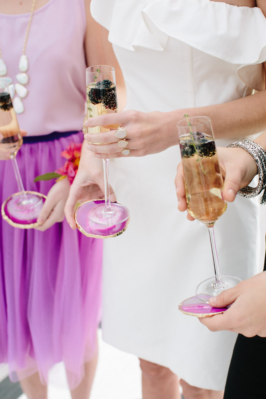Gem Inspired Bridesmaid Luncheon Bridesmaids Holding Champagne - Lauren Carnes Photography