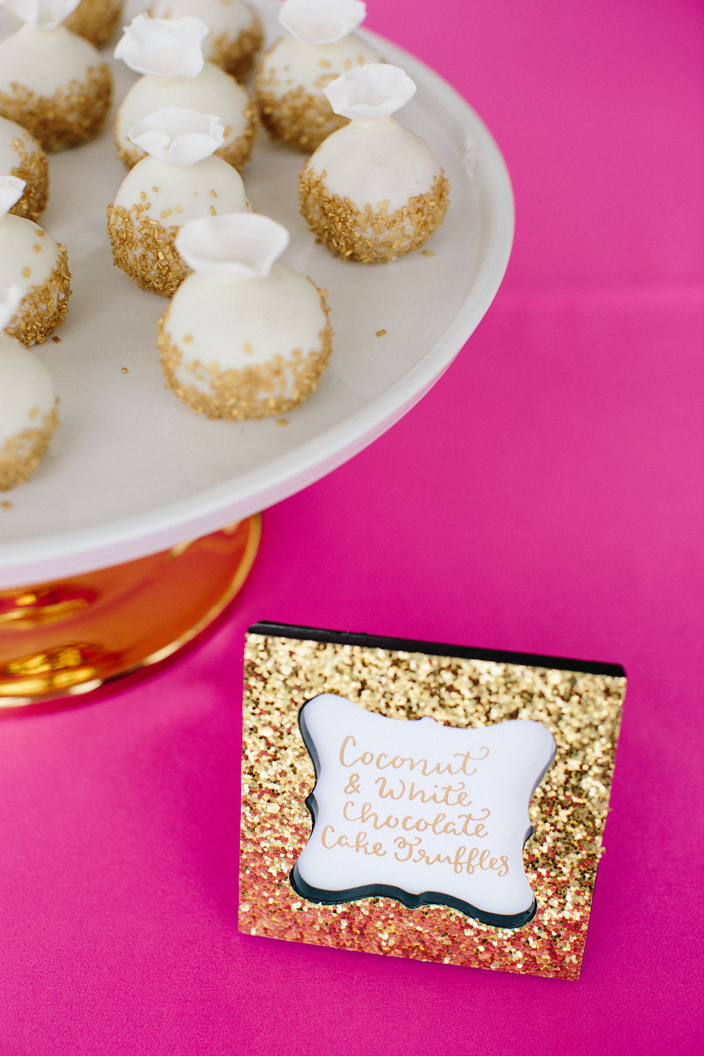 Gem Inspired Bridesmaid Luncheon Coconut and White Chocolate Cake Truffles - Lauren Carnes Photography