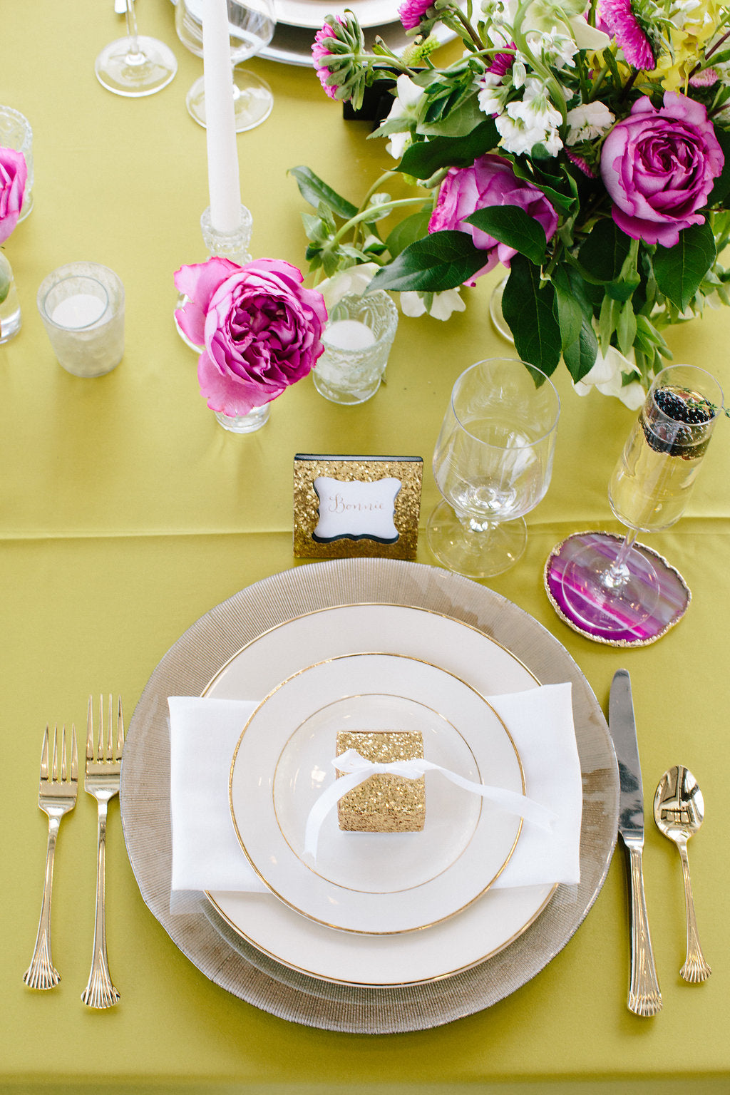 Gem Inspired Bridesmaid Luncheon Place Setting with Glitter Favor Box by Kate Aspen - Lauren Carnes Photography
