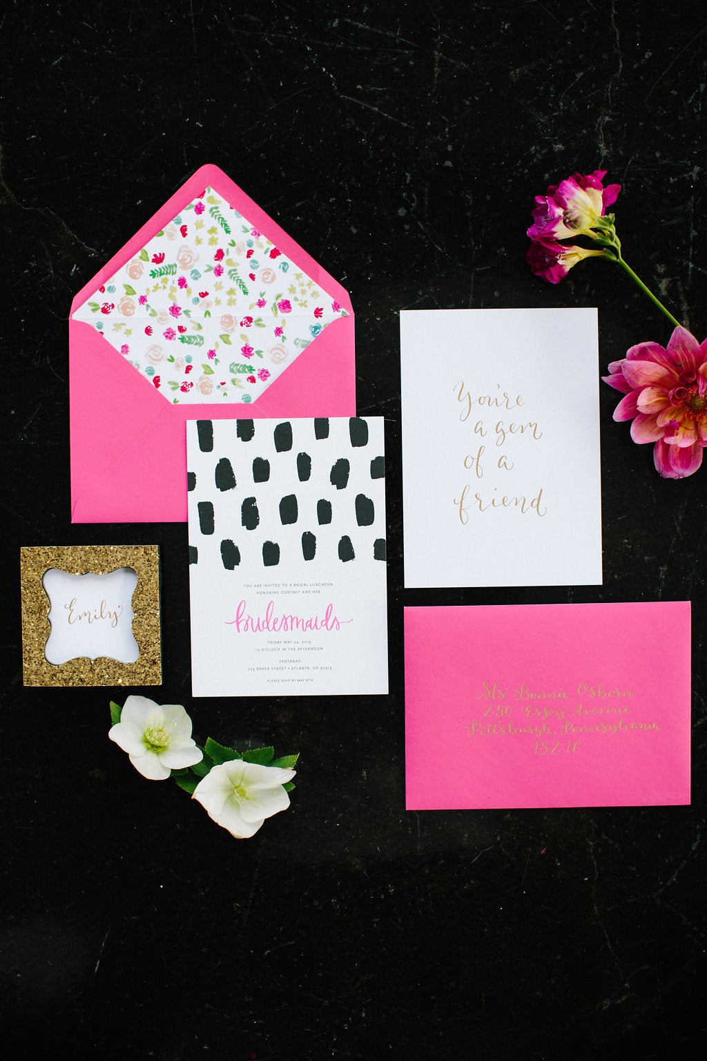Gem Inspired Bridesmaid Luncheon Stationery Suite by Green Tie Studio - Lauren Carnes Photography