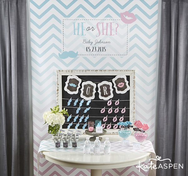He or She Gender Reveal Baby Shower | Kate Aspen