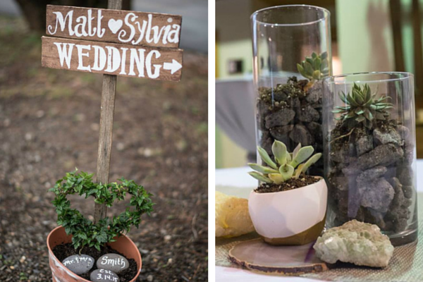 Geode Gemstone Wedding Entrance Sign and Table Centerpieces | Sam Spencer Imaging