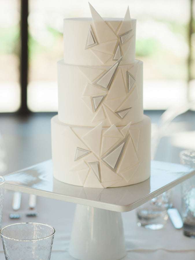 Geometric White and Gray Wedding Cake | Megan Robinson Photography