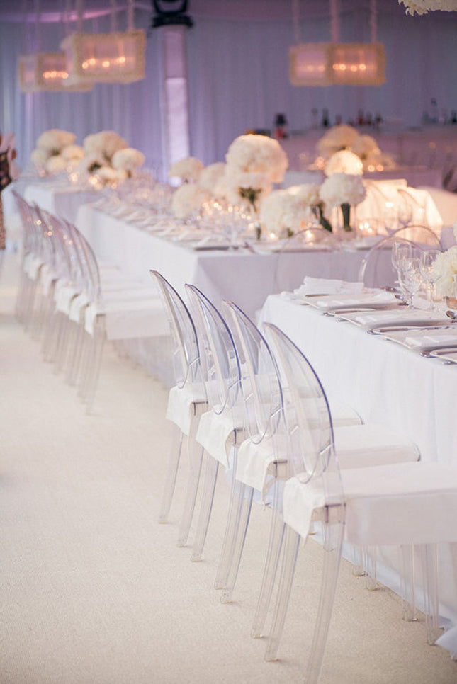 Ghost Chairs | Modern White Wedding | James Christianson Photographer via Style Me Pretty