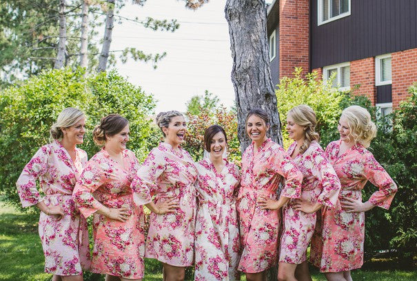 Matching Floral Robes | A Happy and Bright Garden Wedding | Kate Aspen