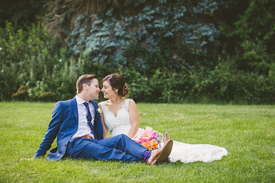 Newlyweds | A Happy and Bright Garden Wedding | Kate Aspen