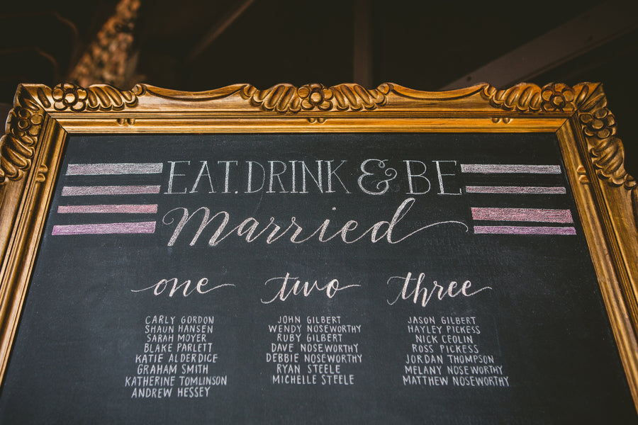 Gold-Rimmed Seating Chart | A Happy and Bright Garden Wedding | Kate Aspen