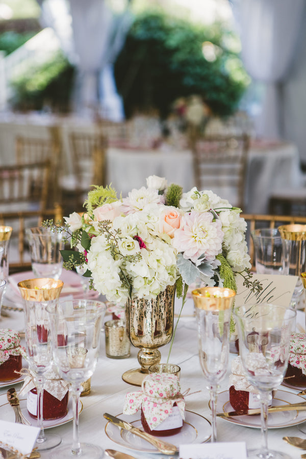 Gold Reception Tables | A Happy and Bright Garden Wedding | Kate Aspen