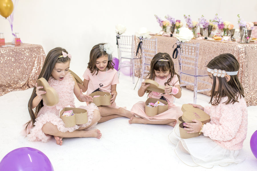 Girls Open Their Gifts  | Tutu Cute Valentine's Day Birthday Party | Stephanie Massaro Photography