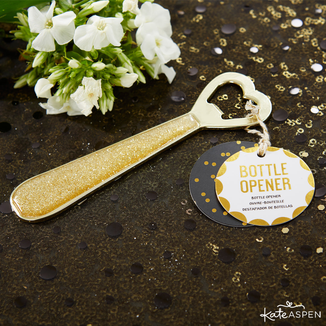 Glittering Heart Bottle Opener - Party Time | 10 Glittering Party Favors and Decorations For All Occasions | Kate Aspen
