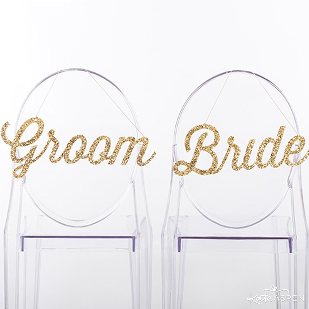 Gold Glitter Bride and Groom Sign | Kate Aspen
