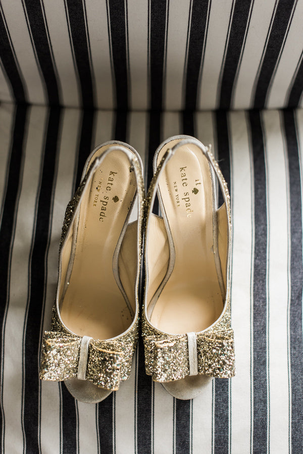 Sparkly Gold Kate Spade Heels | Kate Spade Bridal Shower | B. Jones Photography