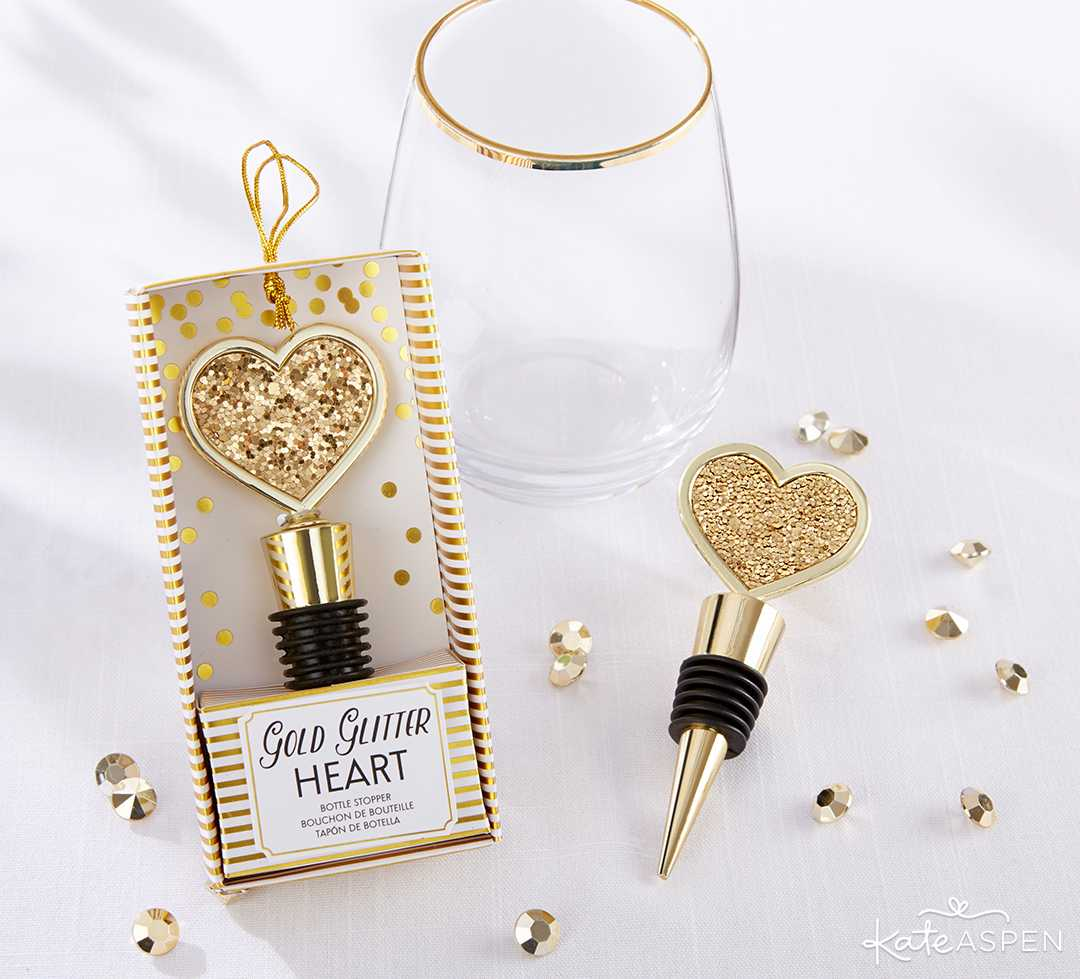 Gold Glitter Heart Bottle Stopper | Curate Your Own Bridesmaid Proposal Kit + A Giveaway | Kate Aspen