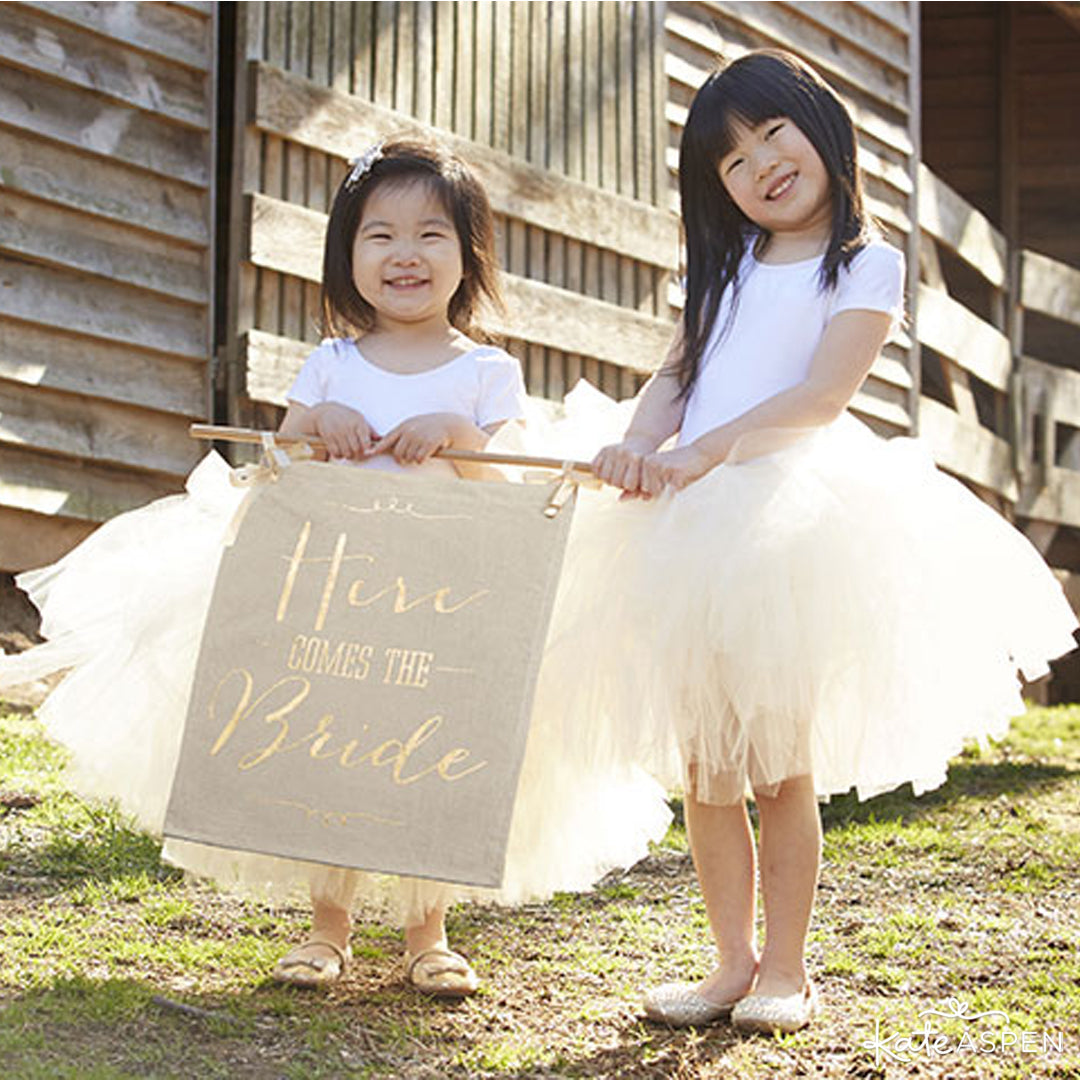 Flower GIrls | Gold Here Comes The Bride Sign | Kate Aspen