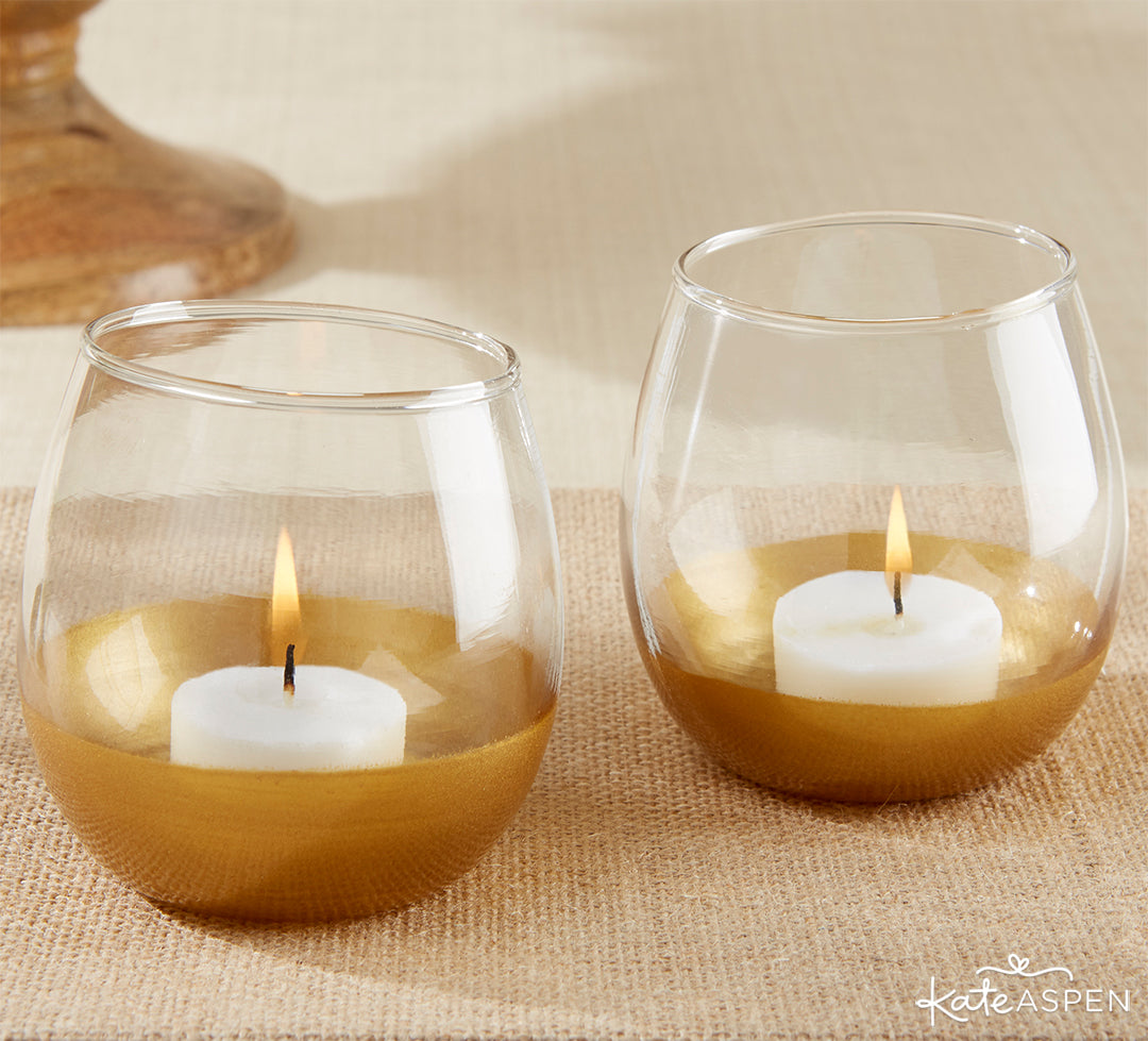 Gold Dipped Glass Votive Holder