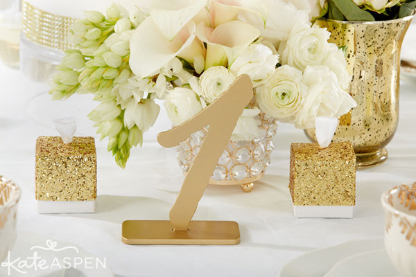 Gold Glam Wedding Inspiration | Gold Glitter Wedding Details | Kate Aspen Decor and Favors | Gold Table Numbers