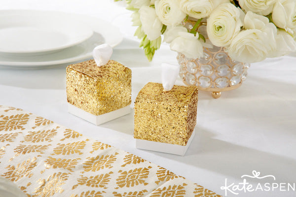 Gold Glam Wedding Inspiration | Gold Glitter Wedding Details | Kate Aspen Decor and Favors | Gold Glitter Favor Boxes