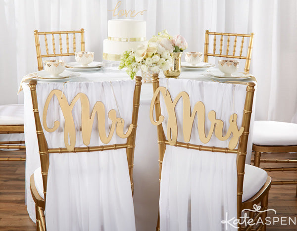 Gold Glam Wedding Inspiration | Gold Glitter Wedding Details | Kate Aspen Decor and Favors | Gold Coasters | Gold Mr. & Mrs. Chair Signs
