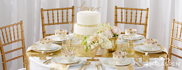 Gold Glam Wedding Inspiration | Gold Glitter Wedding Details | Kate Aspen Decor and Favors | Gold Coasters | Gold Wedding Tablescape